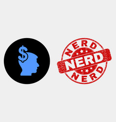 business thinking icon and distress nerd vector image
