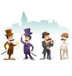 Business Victorian Gentleman Meeting Cartoon vector image