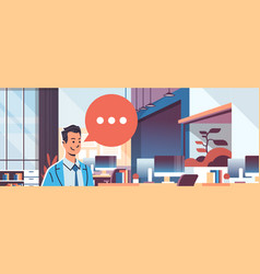Businessman holding tablet speech chat bubble icon vector