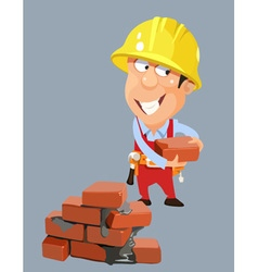 cartoon builder worker man in a helmet with bricks vector image