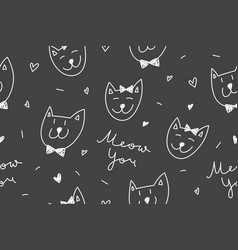 cats in love pattern vector image
