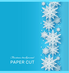 christmas background papercut 3d white snowflake vector image