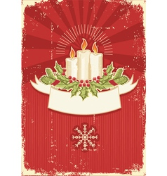 Christmas card with candles vector