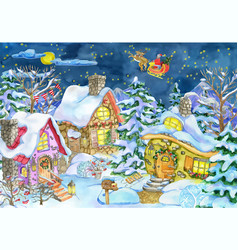 christmas greeting card with village and santa vector image
