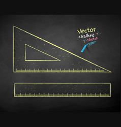 color chalk drawn rulers vector image