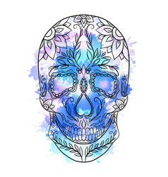 contour of a sugar skull with vector image