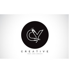 cy modern leter logo design with black and white vector image