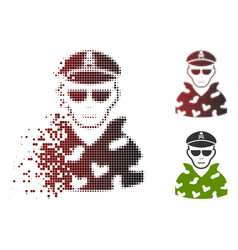 Damaged dot halftone swat soldier icon with face vector