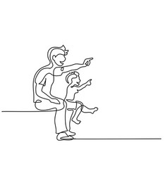 family concept father and son show something vector image