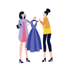fashion girlfriends shopping together flat vector image