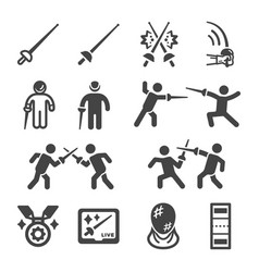 Fencing icon set vector