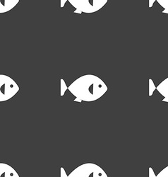 fish icon sign Seamless pattern on a gray vector image