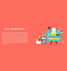 Flat modern concept mail marketing banner vector