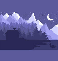 forest house in the night coniferous forest vector image