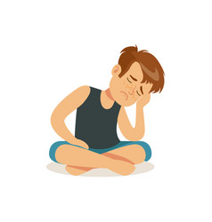 Frustrated boy sitting on the floor in lotus vector