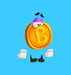 Funny upset bitcoin character crypto currency vector