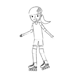girl wearing helmet and roller skate funny vector image
