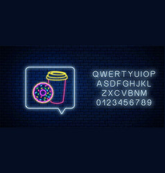 glowing neon sign donut and coffee cup in vector image