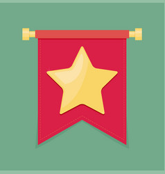 Gold star on the flag icon vector