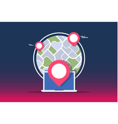 gps navigator mock up with map on gradient vector image