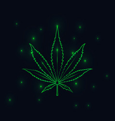 Green lined cannabis leaf silhouette on black vector