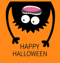 Happy halloween card screaming monster head vector