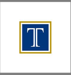 initial t letter shape square logo vector image
