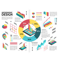 isometric colorful business infographic template vector image