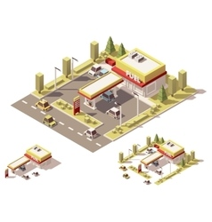 Isometric low poly filling station vector