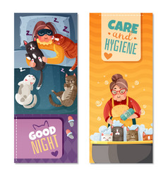 Lady with cats vertical banners vector