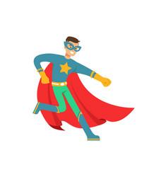 Male superhero in comics costume have fun vector