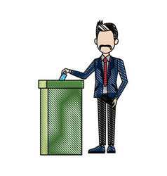 man voting at ballot box democracy concept vector image