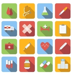Medicine flat icons set vector