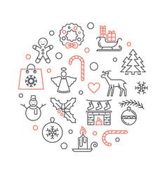 merry christmas circular outline concept vector image