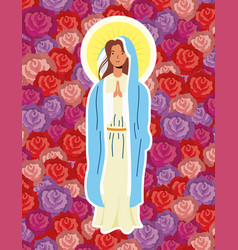 Miraculous virgin assumption mary with roses vector