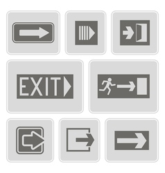 monochrome icons with exit signs vector image