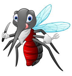 mosquito cartoon ready to eat vector image