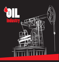 Oil industry - oil pump on black vector