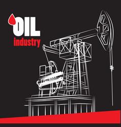 oil industry - pump on black vector image