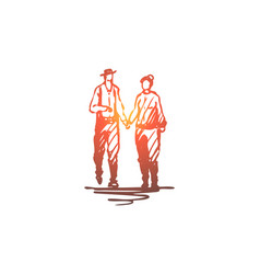 old couple walking love together concept hand vector image