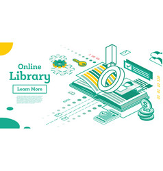 online library outline isometric education vector image