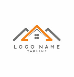 orange grey house real estate logo vector image