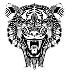 Original black head tiger drawing with the opened vector