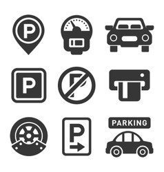 Parking Icon Set on White Background vector image