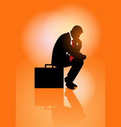 Pensive businessman sitting on his briefcase vector