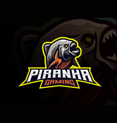 piranha mascot sport logo design vector image