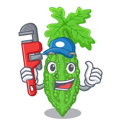 Plumber momordica bitter melon on pear cartoon vector