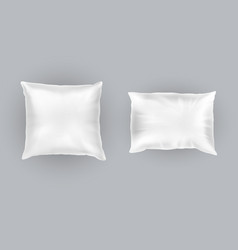 realistic set of two white pillows vector image