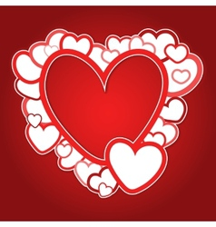 Red frame of hearts vector image