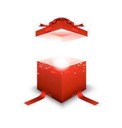 red gift box on white background vector image